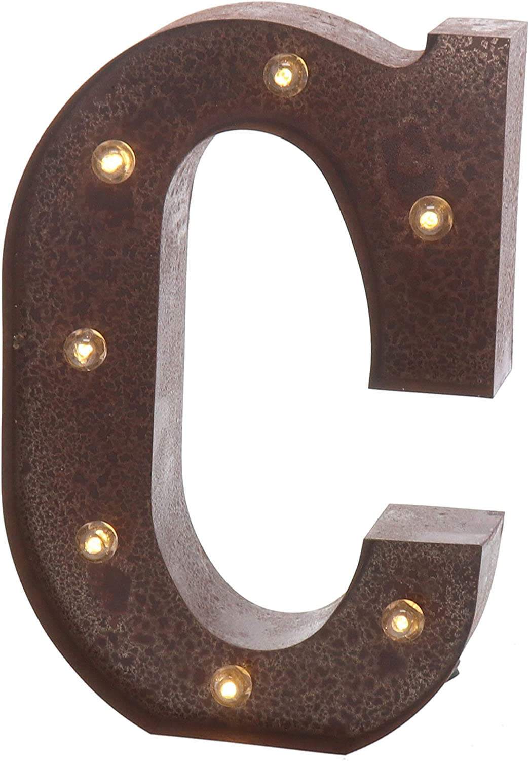 """Barnyard Designs Metal Marquee Letter Flat C Light Up Wall Initial Wedding, Home and Bar Decoration 12"""" (Rust)"""
