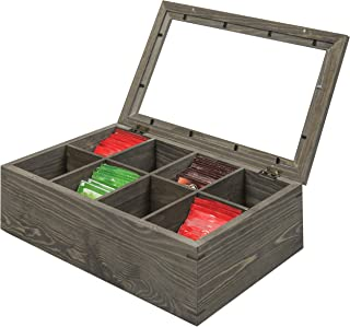 MyGift 8 Compartment Vintage Gray Wood Tea Bag Storage Chest with Clear Lid