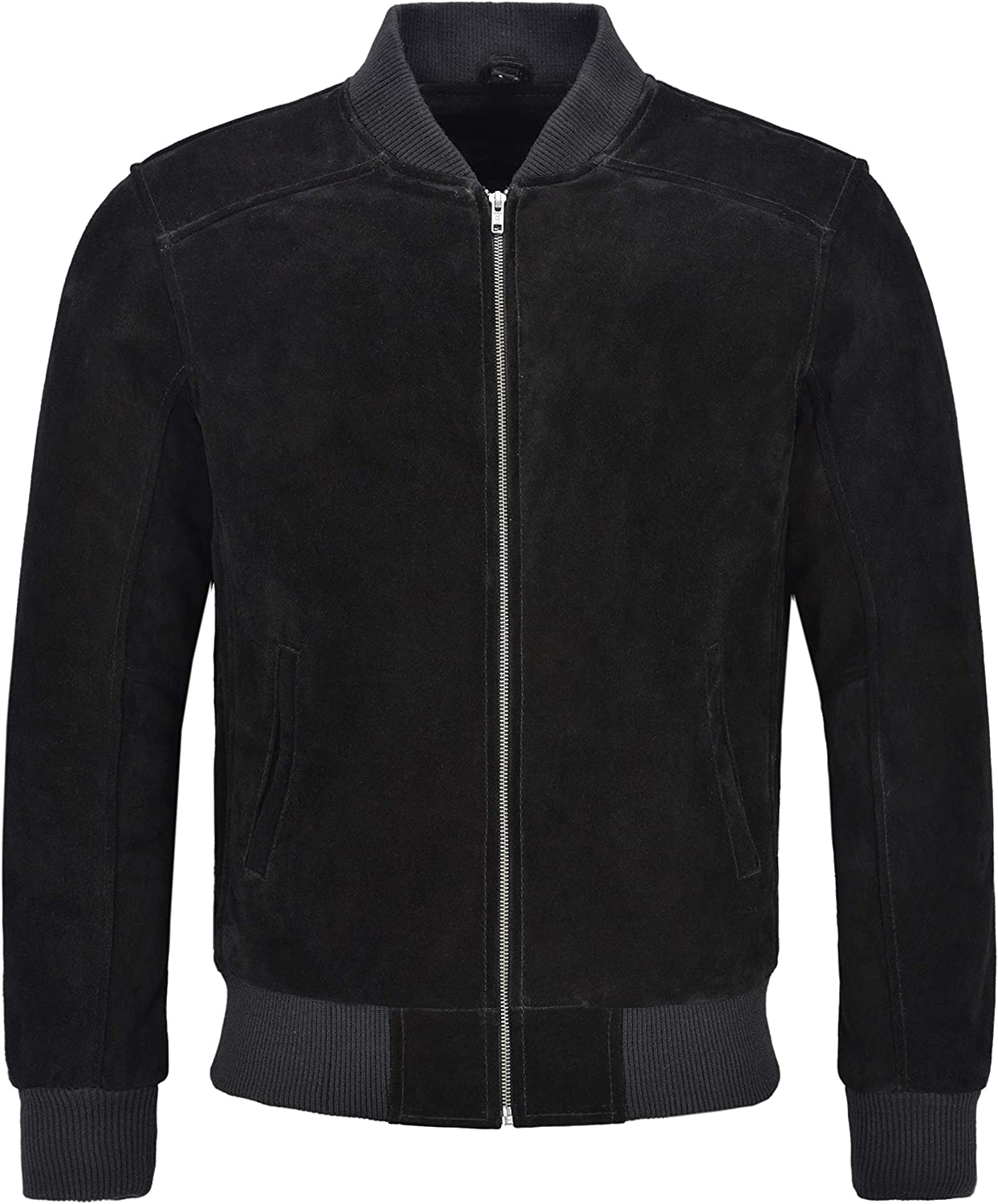 Men's 70'S Bomber Leather Jacket Black Suede Street Inspired Retro Style 275-P