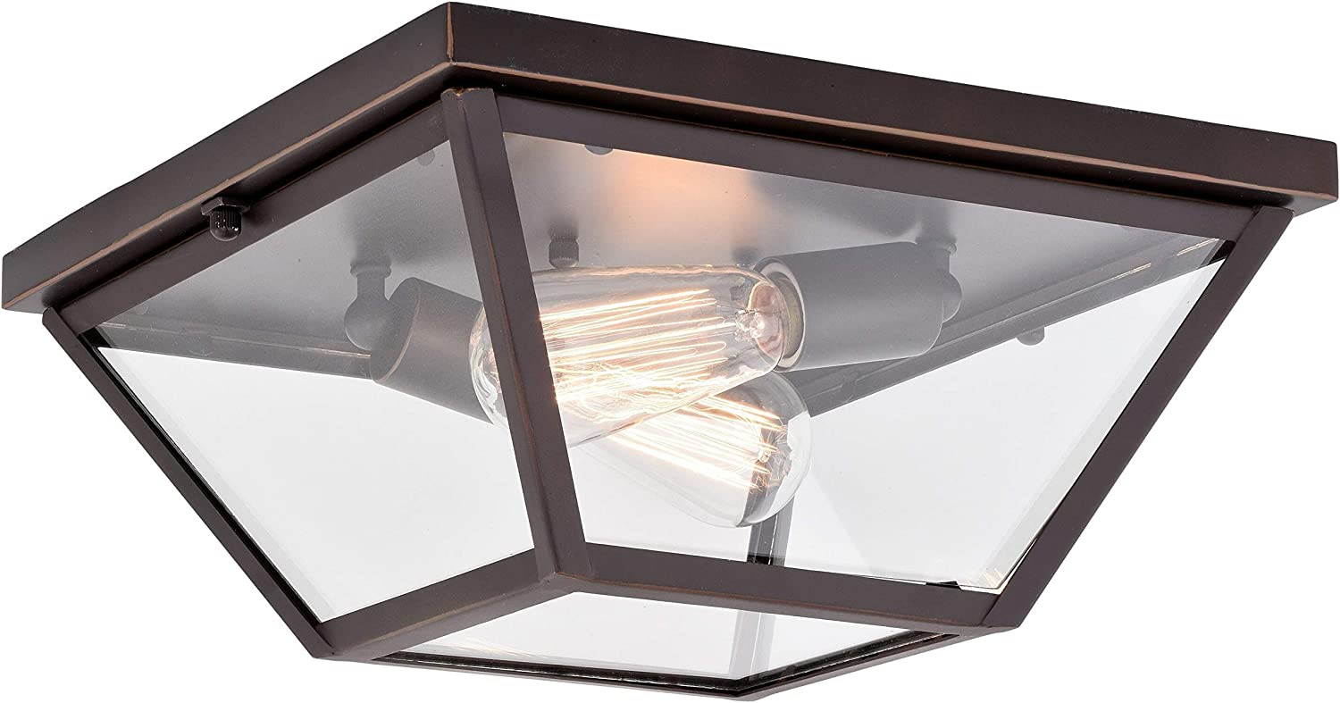 Max 82% OFF UKN 13-in W Bronze Flush Mount Ceiling Glass Light Clear sold out Fixture