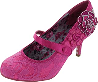 24413f25cf Ladies Womens Court Shoes Slip On Mary Jane Mid Heel Floral Couture Bar Size