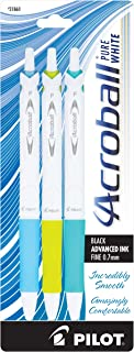 PILOT Acroball PureWhite Advanced Ink Refillable & Retractable Ball Point Pens with Blue/Lime/Turquoise Accents, Fine Poin...