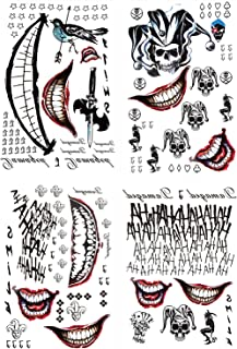 Men Tattoos, 4-Sheet Temporary Tattoos Fake Tattoo Sticker for Halloween Costume Accessories and Parties