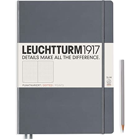 LEUCHTTURM1917 - Master Slim A4+ - Dotted Hardcover Notebook (Anthracite) - 123 Numbered Pages