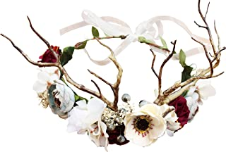 Vivivalue Adjustable Flower Headband Hair Wreath Floral Garland Crown Flower Halo Headpiece Boho with Ribbon Wedding Party