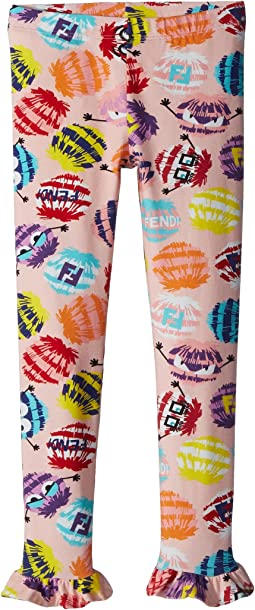 Fendi Kids Fur Monster Print Leggings (Toddler)