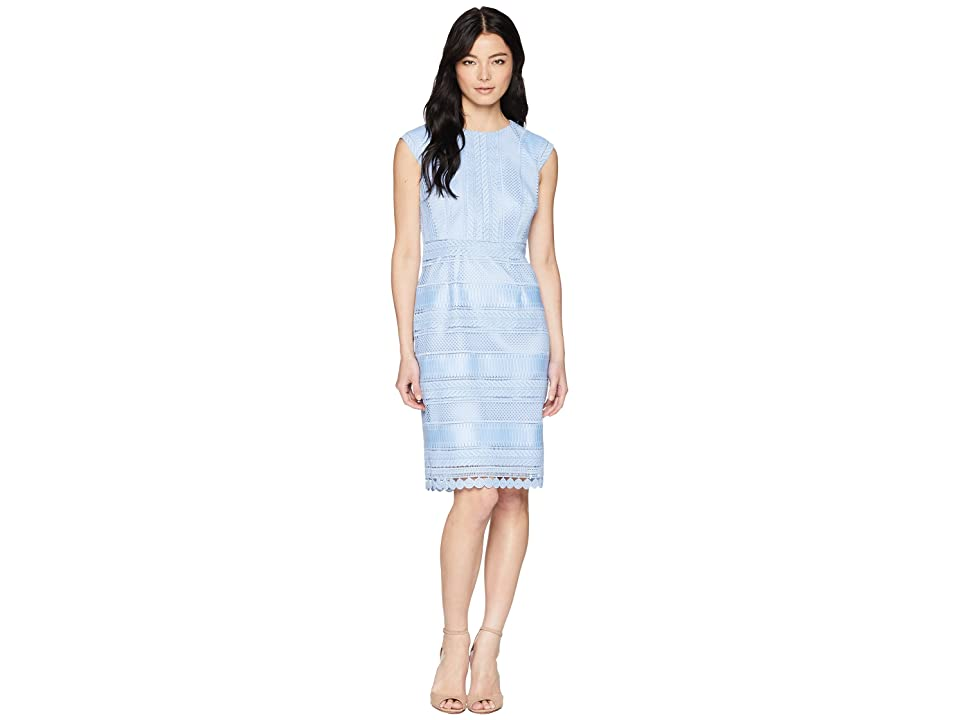 Tahari by ASL Petite Cap Sleeve Lace Sheath Dress (Periwinkle) Women