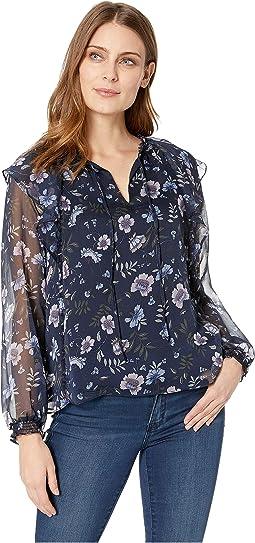 Long Sleeve Ruffled Bloomsbury Floral Blouse