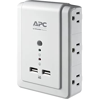 APC Wall Outlet Plug Extender, Surge Protector with USB Ports, P6WU2, (6) AC Multi Plug Outlet, 1080 Joule Surge Protection
