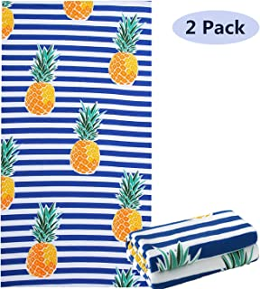 "NovForth 2 Pack Beach Towel for Women, Microfiber Pool Towel for Grils, Oversized Bath Towel 30""x 61"", Outdoors Travel Cabana Stripe Quick Dry Towels Blanket"