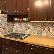 XEMZ Color claro marroqu/í autoadhesivo 10 unidades 15 cm porcelana pl/ástico vidrio papel madera piedra dise/ño retro de azulejos Adhesivo decorativo para suelo de vinilo
