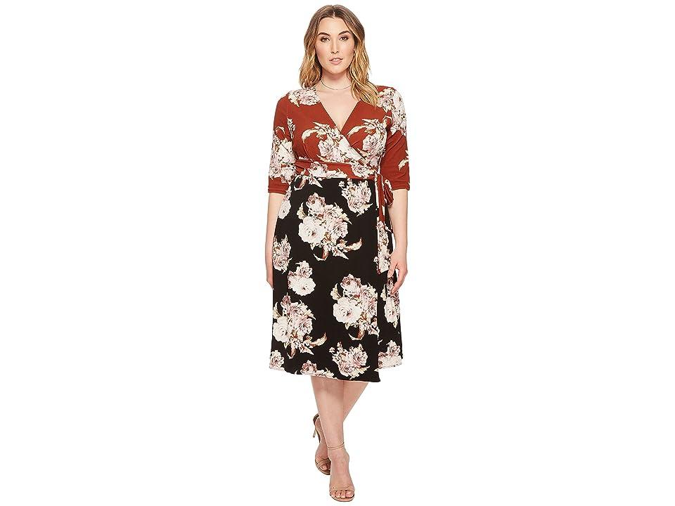 Kiyonna Wendy Wrap Dress (Sienna Bouquet) Women
