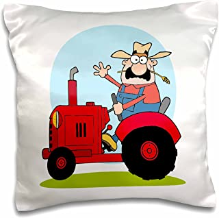 3dRose pc_118526_1 Cartoon Farmer Riding A Red Tractor-Pillow Case, 16 by 16