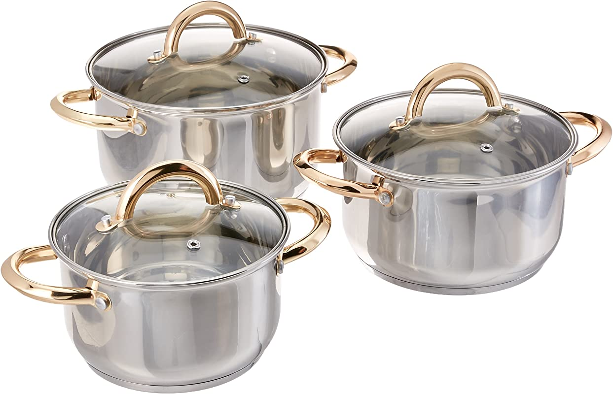 2008 New Uniware Stainless Steel Cookware Set With Gold Plated Handle