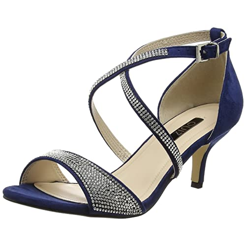 7f9598671baf Quiz Women s Diamante Faux Suede Low Sandals Open-Toe Heels