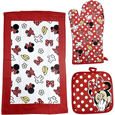 Disney Oven Mitt Pot Holder & Dish Towel 3 pc Kitchen Set (Minnie Mouse Red)