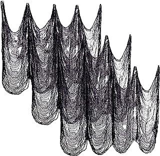 زي ديكس 6 قطع من القماش المخيف للهالويين الأسود (76.2 سم × 182.88 سم) - الشاش المخيف المخيف لللوازم حفلات الهالوين جدار ال...