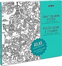 Omy Póster para Colorear Atlas Grande, Papel, Multicolor, 40,4 x 26 x 24 cm
