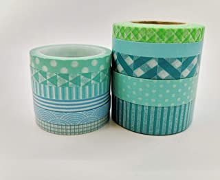 Blue, Teal & Green Patterns washi Tape Set of 11 Rolls. Extra Long Tapes of 394 inches. for scrapbooks, Gift Wrapping, Crafts, Party Decor and Custom Cards