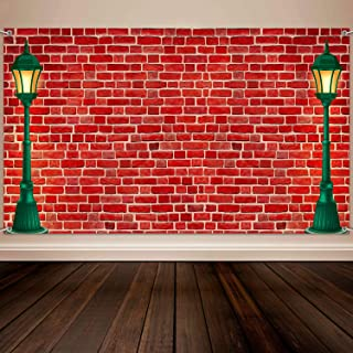 Brick Wall Theme Decoration Supplies, Extra Large Fabric Red Brick Wall Street Backdrop for Baby Shower Banner Decoration, Boy Girl Birthday Party Theme Photo Booth Background