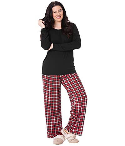 Kickee Pants Plus Size Long Sleeve Loosey Goosey Tee Pants PJ Set (Crimson 2020 Holiday Plaid) Women