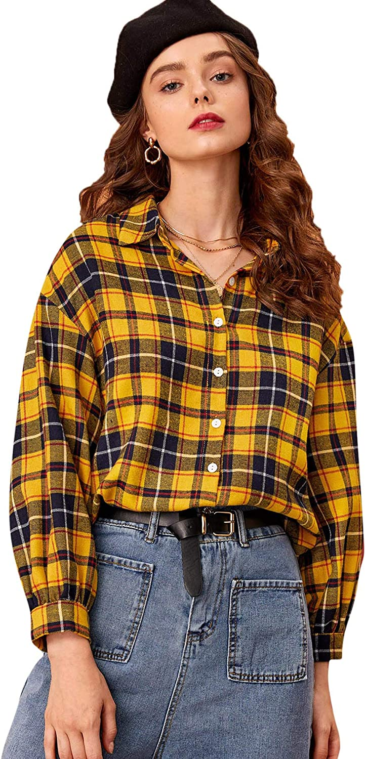 Milumia Women Work Office Blouses Button Down Long Sleeves Shirts Plaid