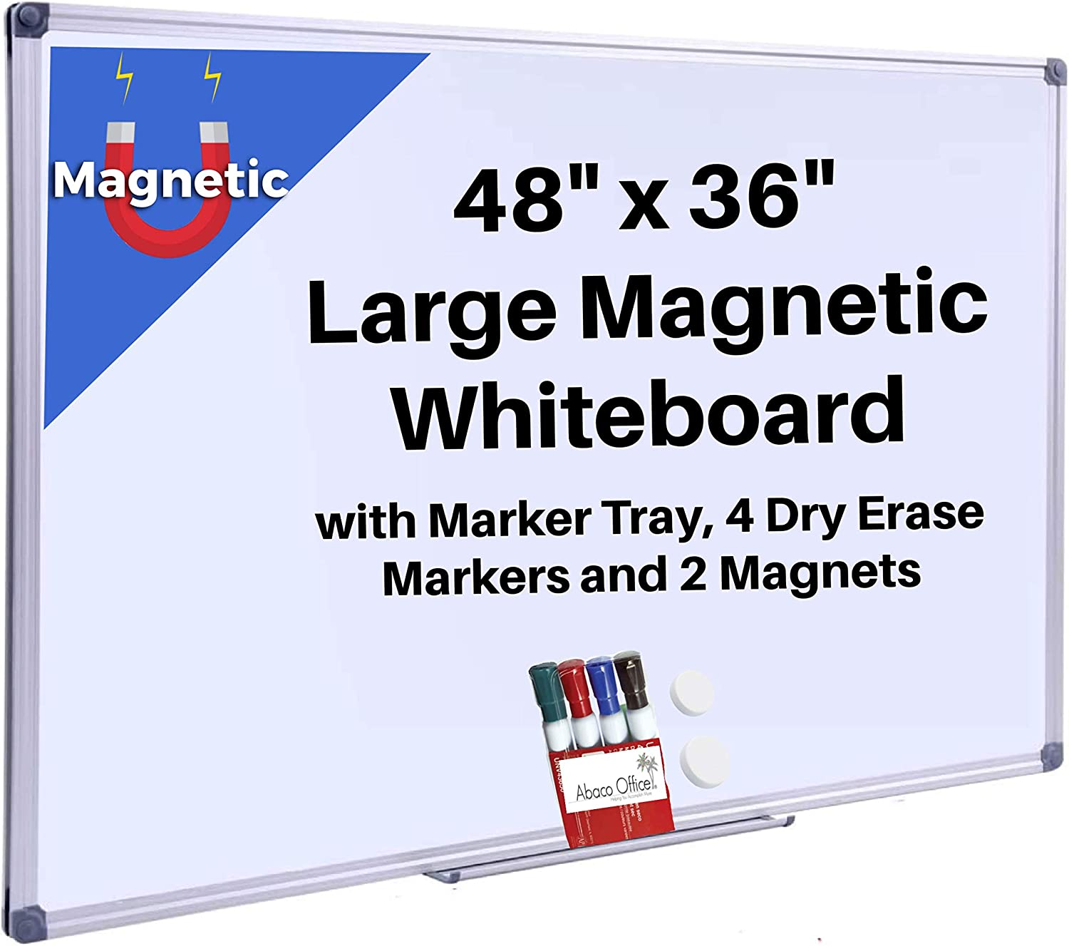 ABACO OFFICE Magnetic Whiteboard Dry Erase Board   4 Free Markers + 2 Magnets + 1 Removable Marker Tray   White Board for Home, Office, Bedroom, 4 X 3 Feet, Silver Aluminum Frame