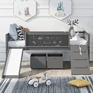 Kids Loft Beds, Low Loft Bed Frame with Slide Twin Loft Bed with Storage Boxes, Climbing Ladder and Chalk Board Multifunctional Modern Loft Bed for Kids Boys Girls , Gray
