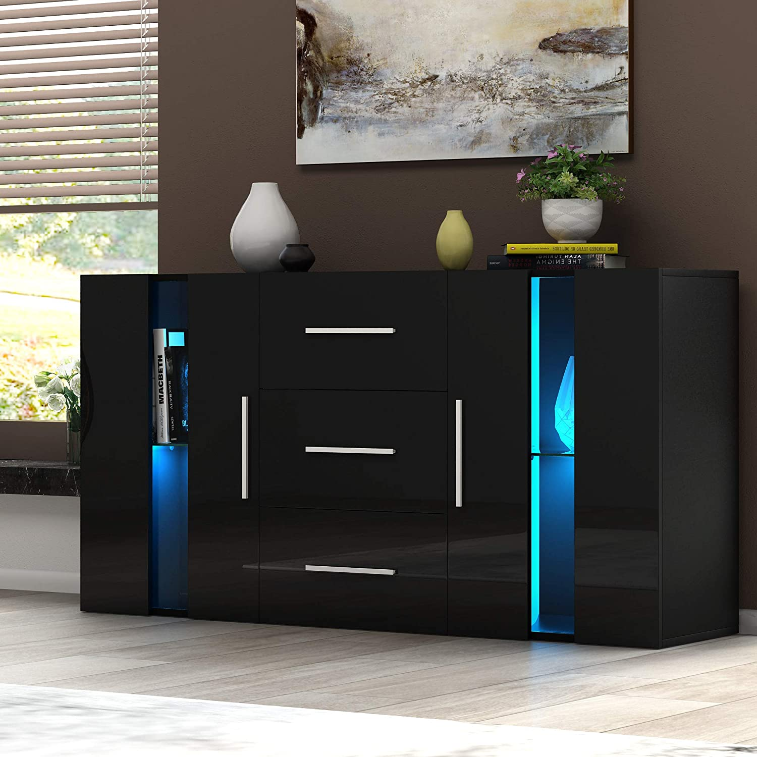 Panana Modern Sideboard High Gloss Fronts Storage Cabinet Cupboard with Drawers and Doors RGB LED Lights Living Room Hallway Black
