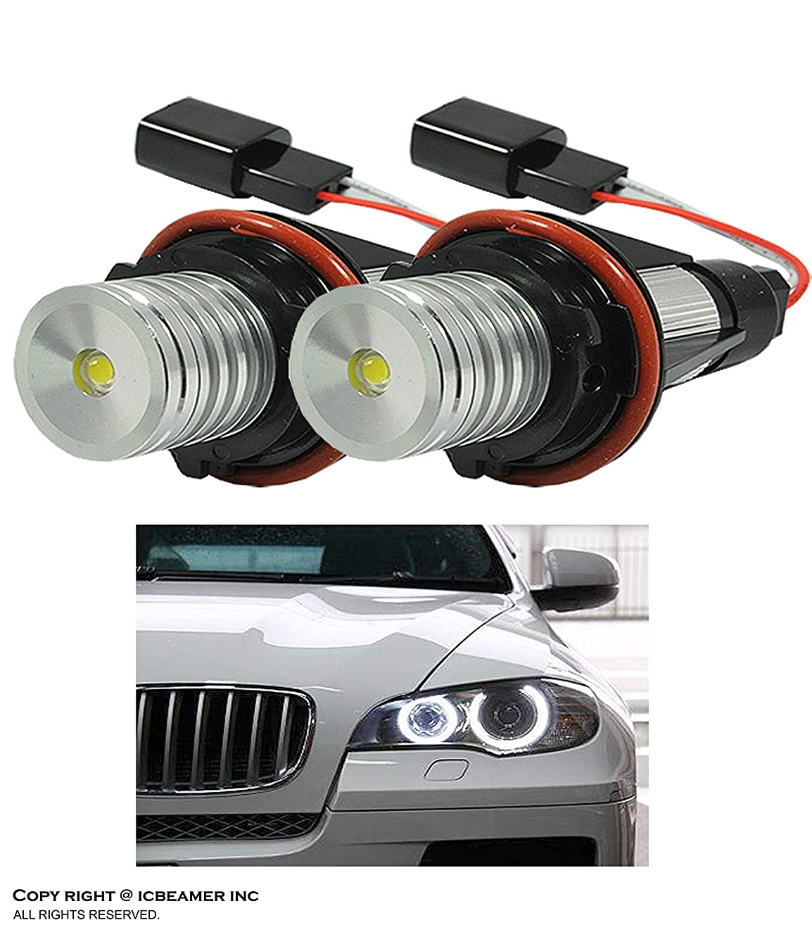 ICBEAMER LED Angel Eye Halo Ring Fit BMW E39 E53 E60 E61 E63 E64 E65 E66 E87 Can Replace OEM Factory Light Bulbs [White]