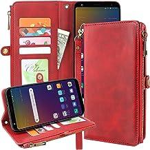 Galaxy J7 2018 Case, J7 Aero, J7 Top, J7 Crown, J7 Aura, J7 Refine, J7 Eon Case, Premium Leather Flip Zipper Wallet Case C...