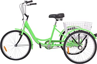 DoCred Adult Tricycles 24/26/20 Inch Three Wheel Bike Cruiser Bicycle, Adult Tricycle for Men/Women/Seniors/Young