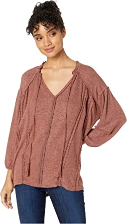 Split-Neck Peasant Top