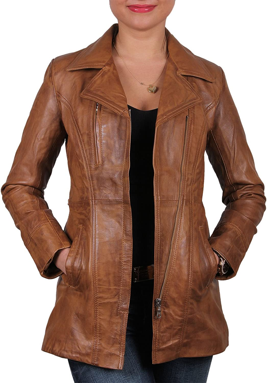 Brandslock Vintage Womens Long Real Leather Biker Jacket