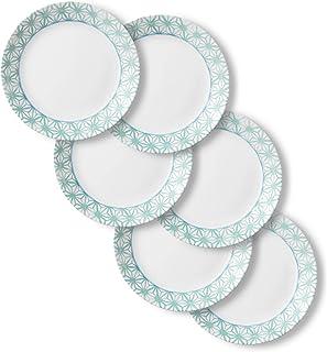 Corelle Chip Resistant Dinner Plates, 6-Piece, Amalfi Verde
