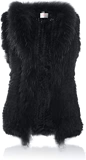 Rabbit Fur Vest with Raccoon Fur Collar Knitted Soft