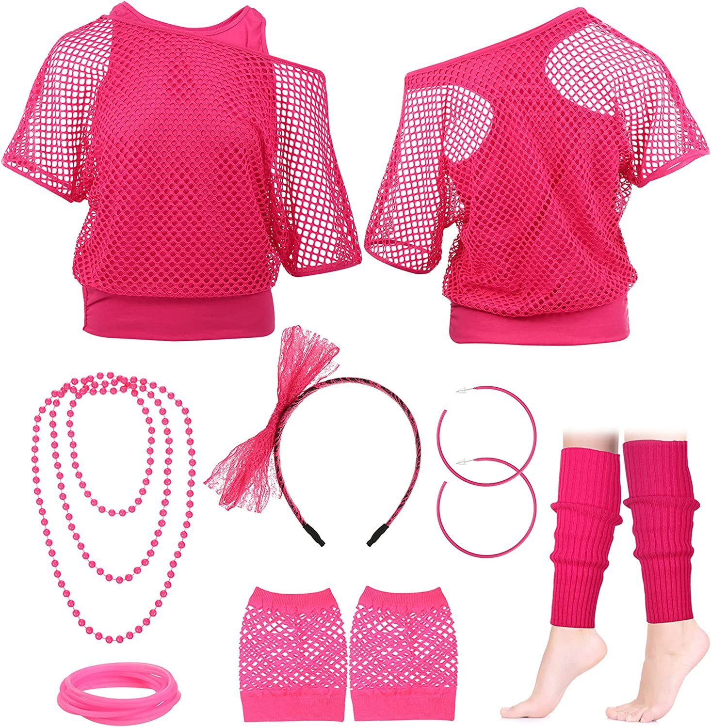 Ficerd 80s Outfit Costume Accessory National products Max 70% OFF Headband Earring Fishnet Glo