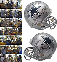 2019 Dallas Cowboys Team Autographed Hand Signed Riddell Full Size Football Helmet with 35 Signatures Total and Exact Proof Photos of Signing, COA, Jason Garrett, Tony Pollard, Randall Cobb