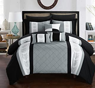 Chic Home 10 Comforter Pin Tuck Pieced Block Embroidery Bed in A Bag with Sheet Set Black, Grey, Queen