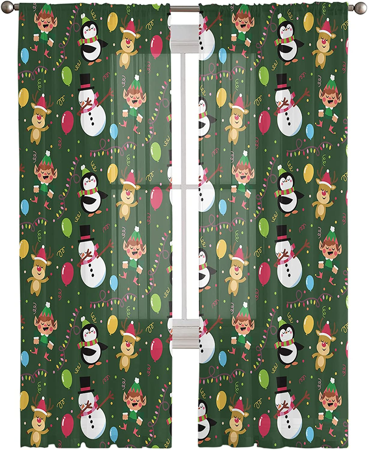 All items in the store 2 Panels Window Semi-Sheer Curtains Snow Cartoon Merry Christmas Ranking TOP17