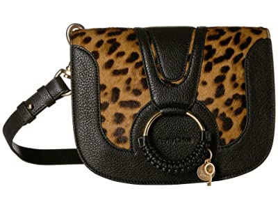See by Chloe Haircalf Leopard Hana Crossbody (Black) Handbags