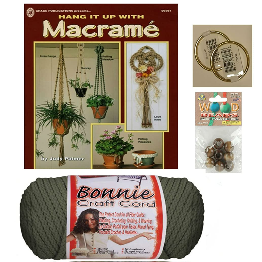 Macrame kit Bundle with Craft Cord, Wooden Beads, Rings, and Project Book for Plant Hangers and Wall hangings (Gray)