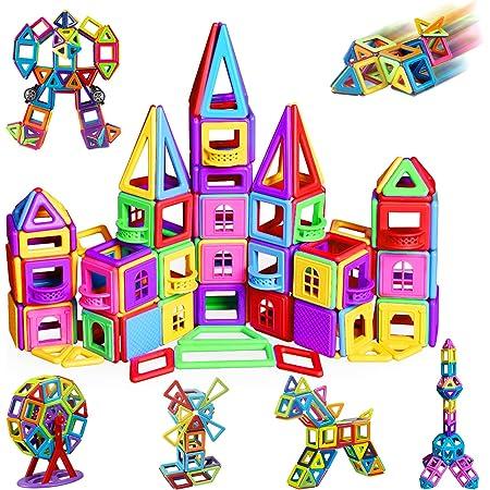 Magnetische Bausteine 162tlg Mini Magnetic Bauklötze Baukasten Kinder | Tolles Geschenk Lernspielzeug für Kinder ab 3 Jahre | Perfekt für den Einsatz zu Hause, in Schulen
