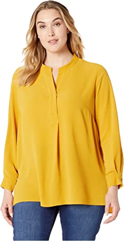 Plus Size Long Sleeve Soft Texture Henley Tunic