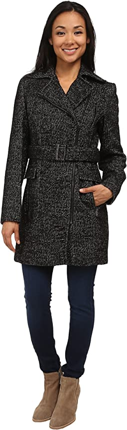 Wool Belted Coat w/ Asymmetrical Zipper