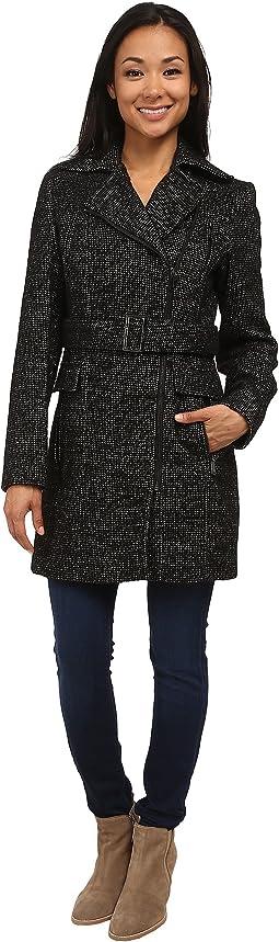 Wool Belted Coat w/ Asymmetrical Zipper