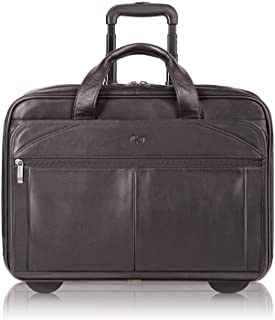 Walker Rolling Laptop Bag - Fits Up to 15.6-Inch Laptop - Premium Leather Rolling Briefcase for Women and Men - Laptop Bag - Easy Glide Wheels - Full-Grain Leather - Espresso