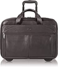 Solo New York Walker Rolling Laptop Bag. Premium Leather Rolling Briefcase for Women and Men. Fits up to 15.6 inch laptop - Espresso