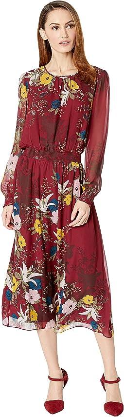 Long Sleeve Autumn Botanical Cinch Waist Dress