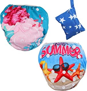 Lictin 2 Pack Reusable Swim Diaper, Washable Swim Nappy Adjustable Fits for 8-36lbs Boy (0-3 Years), Premium Quality Eco-Friendly Swimwear Pool Pants with Storage Bag (Red Star)